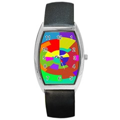 Pattern Tonneau Leather Watch