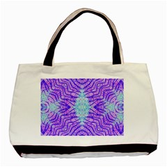 Turquoise Purple Zebra Pattern  Twin Sided Black Tote Bag by OCDesignss