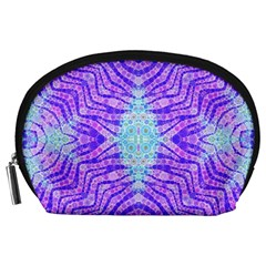 Turquoise Purple Zebra Pattern  Accessory Pouch (large) by OCDesignss
