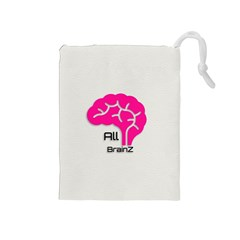 All Brains Leather  Drawstring Pouch (medium) by OCDesignss