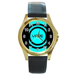 Turquoise Lines Vape   Round Leather Watch (gold Rim)  by OCDesignss
