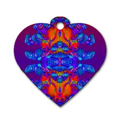 Abstract Reflections Dog Tag Heart (one Sided)  by icarusismartdesigns