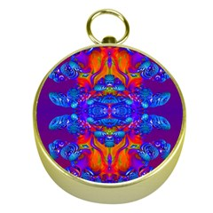 Abstract Reflections Gold Compass by icarusismartdesigns