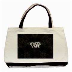 Wake&vape Leopard  Twin Sided Black Tote Bag by OCDesignss