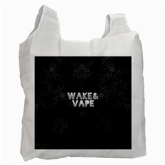 Wake&vape Leopard  White Reusable Bag (one Side) by OCDesignss