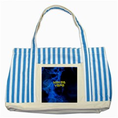 Wake&vape Blue Smoke  Blue Striped Tote Bag by OCDesignss