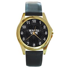 Wake&vape Leopard  Round Leather Watch (gold Rim)  by OCDesignss
