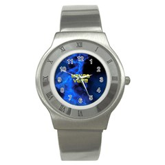 Wake&vape Blue Smoke  Stainless Steel Watch (slim) by OCDesignss