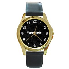 Vape Aholic Blk Snake  Round Leather Watch (gold Rim)  by OCDesignss