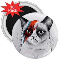 Grumpy Bowie 3  Button Magnet (10 Pack)