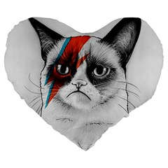 Grumpy Bowie 19  Premium Heart Shape Cushion by Olechka