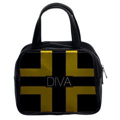 Diva Yellow Black  Classic Handbag (two Sides) by OCDesignss