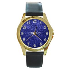 Blue Bit?h Round Leather Watch (gold Rim)  by OCDesignss