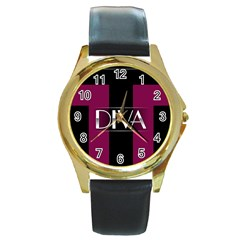 Pink Diva  Round Leather Watch (gold Rim)  by OCDesignss