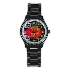 Abstract Lips  Sport Metal Watch (black)