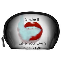Smoke It Blk&white Lips  Accessory Pouch (large) by OCDesignss