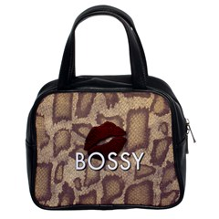 Bossy Snake Texture  Classic Handbag (two Sides) by OCDesignss