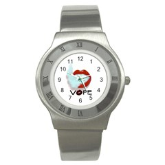 Vape Mouth Smoke  Stainless Steel Watch (slim) by OCDesignss
