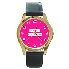 Vaping Kicks Ash Pink  Round Leather Watch (gold Rim)  by OCDesignss