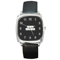 Vaping Kicks Ash Blk&wht  Square Leather Watch by OCDesignss