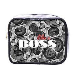 Like A Boss Blk&wht Mini Travel Toiletry Bag (one Side)