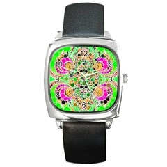 Florescent Abstract  Square Leather Watch by OCDesignss