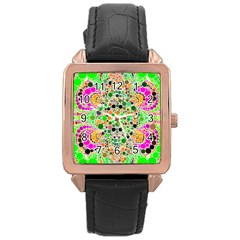 Florescent Abstract  Rose Gold Leather Watch  by OCDesignss