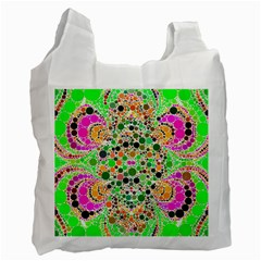 Florescent Abstract  White Reusable Bag (one Side) by OCDesignss