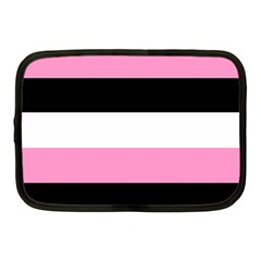 Black, Pink And White Stripes  By Celeste Khoncepts Com 20x28 Netbook Sleeve (medium) by Khoncepts