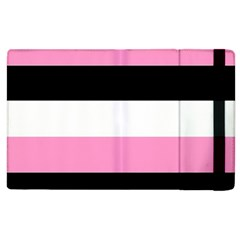 Black, Pink And White Stripes  By Celeste Khoncepts Com 20x28 Apple Ipad 3/4 Flip Case