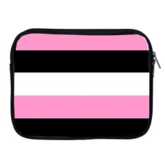 Black, Pink And White Stripes  By Celeste Khoncepts Com 20x28 Apple Ipad Zippered Sleeve by Khoncepts