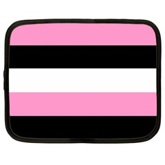 Black, Pink And White Stripes By Celeste Khoncepts Com Netbook Case (xl) by Khoncepts