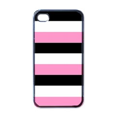 Black, Pink And White Stripes By Celeste Khoncepts Com Apple Iphone 4 Case (black) by Khoncepts