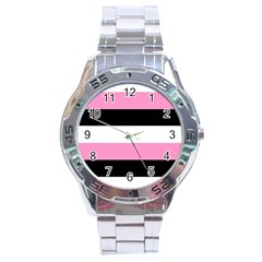 Black, Pink And White Stripes  By Celeste Khoncepts Com 20x28 Stainless Steel Watch by Khoncepts