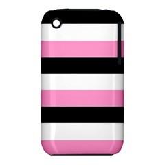Black, Pink And White Stripes  By Celeste Khoncepts Com 20x28 Apple Iphone 3g/3gs Hardshell Case (pc+silicone) by Khoncepts