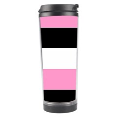 Black, Pink And White Stripes  By Celeste Khoncepts Com 20x28 Travel Tumbler by Khoncepts