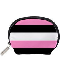 Black, Pink And White Stripes  By Celeste Khoncepts Com 20x28 Accessory Pouch (small) by Khoncepts