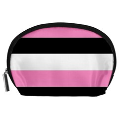 Black, Pink And White Stripes  By Celeste Khoncepts Com 20x28 Accessory Pouch (large) by Khoncepts