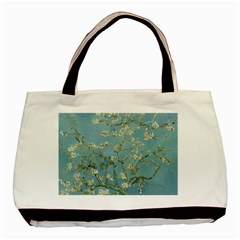 Vincent Van Gogh, Almond Blossom Twin Sided Black Tote Bag by Oldmasters