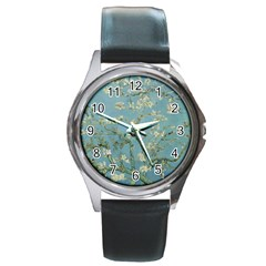 Vincent Van Gogh, Almond Blossom Round Leather Watch (silver Rim) by Oldmasters
