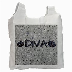 Sassy Diva  White Reusable Bag (two Sides)