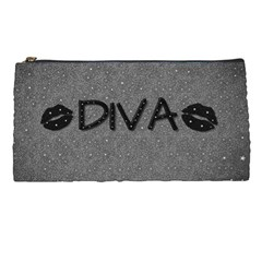 Diva Blk Glitter Lips Pencil Case by OCDesignss
