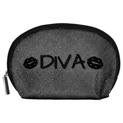 Diva Blk Glitter Lips Accessory Pouch (large)