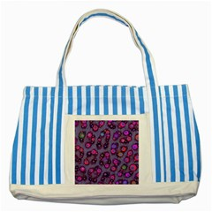 Florescent Cheetah Blue Striped Tote Bag by OCDesignss