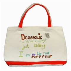 D0gaholic Classic Tote Bag (red) by Rokinart
