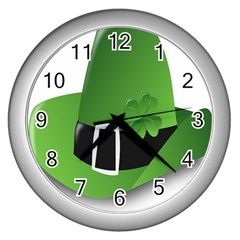 Irish Shamrock Hat152049 640 Wall Clock (silver) by Colorfulart23