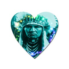 Magical Indian Chief Magnet (heart) by icarusismartdesigns