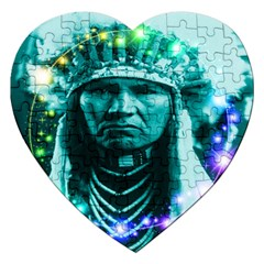Magical Indian Chief Jigsaw Puzzle (heart) by icarusismartdesigns