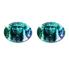 Magical Indian Chief Cufflinks (oval) by icarusismartdesigns