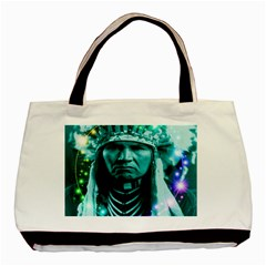 Magical Indian Chief Twin Sided Black Tote Bag by icarusismartdesigns